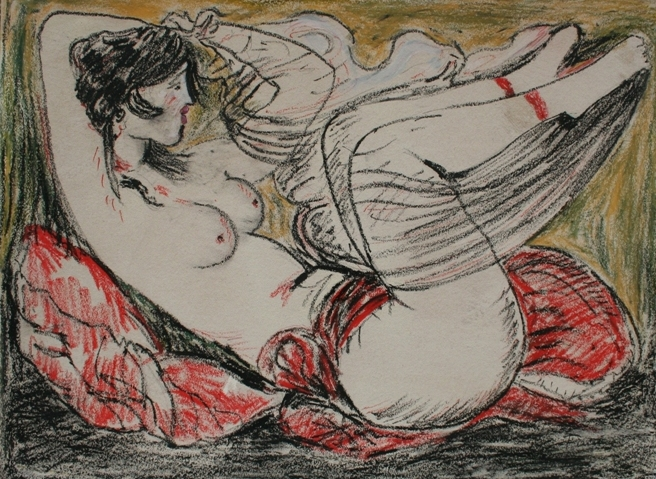 """Odalisca"" (1980), pastelli su cartone, cm. 60x80"