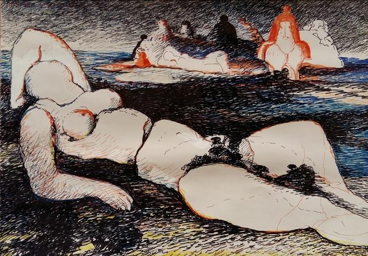 """""""Nudo nel paesaggio"""" (1980), pennarelli su carta, cm. 70x100"""