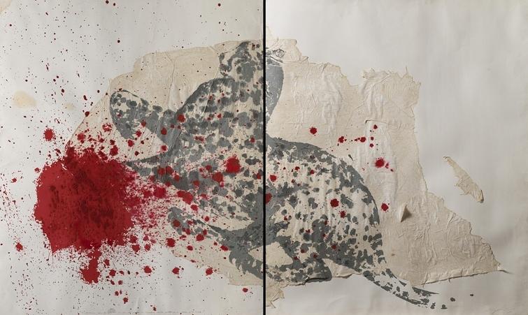 """""""Macchio della pittura"""" 1981, tecnica mista su carta, cm. 120x200"""