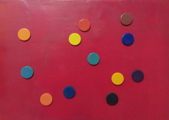"""""""Stolen rainbow""""  2013, olio su tela con pastiglie di acquerello, cm. 30x42"""