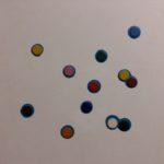 """""""Stolen rainbow""""  2013, olio su tela con pastiglie di acquerello, cm. 50x50"""