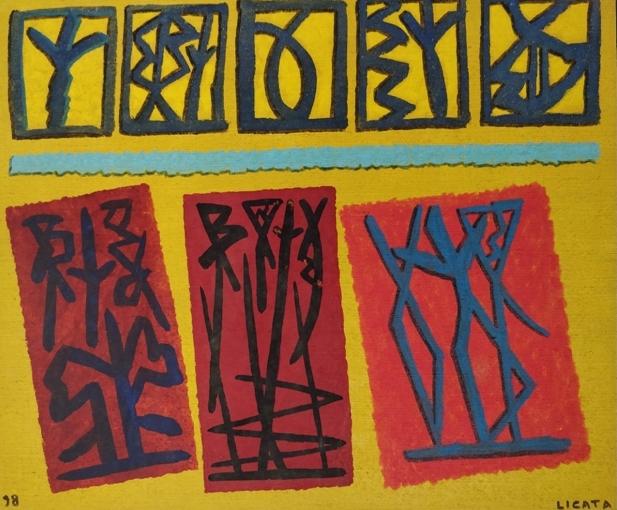 """""""Composizione"""" 1998, tempera all'uovo su tela, cm. 46x55"""
