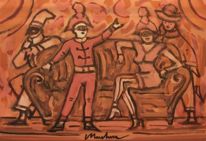 """Teatrino"" (1995), acrilico su tela, cm. 35x50"