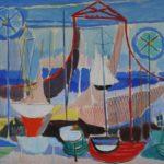 """""""Barche"""" 1954, tempera su cartoncino, cm. 46x64"""