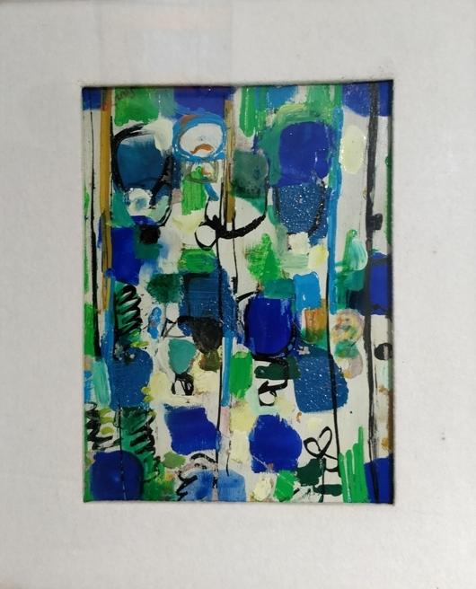 """Mercatino"" (1980), olio su cartone, cm. 24x18"
