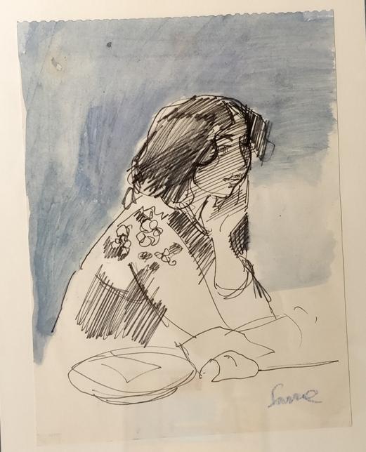 """""""Figura al tavolo"""" (1980), tecnica mista, cm. 24x18"""