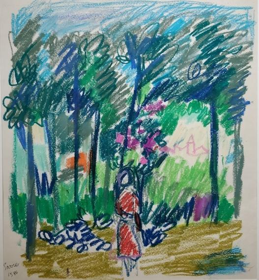 """""""Paesaggio"""" (1980), pastelli su carta, cm. 35x30"""