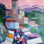 """""""Mercatino"""" (1980), olio su tela, cm. 40x30"""