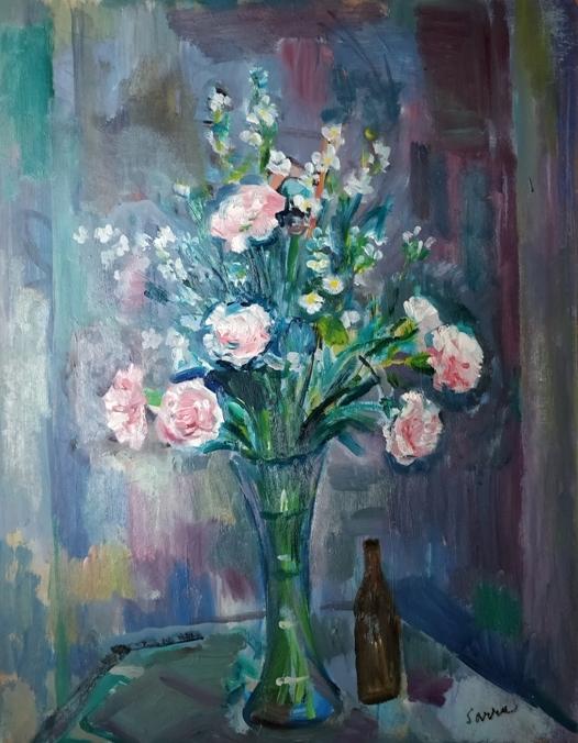 """""""Fiori"""" (1980), olio su masonite, cm. 60x50"""