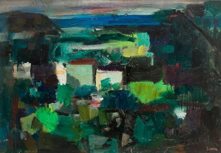 """""""Spiaggia di Sant'Agostino"""" (1970), olio su tela, cm. 70x100"""