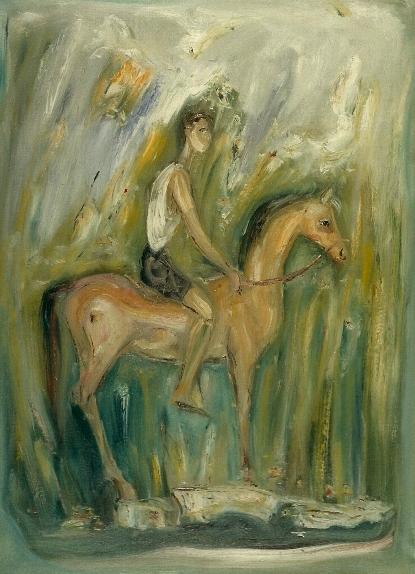 """""""Giovane a cavallo"""" 1960, olio su tela, cm. 100x70"""