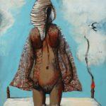 """""""Passeggiata nel prato"""" 1976, olio su tela, cm. 100x90"""