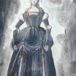 """Figura in costume"" 1962, tempera su carta, cm. 30x20"
