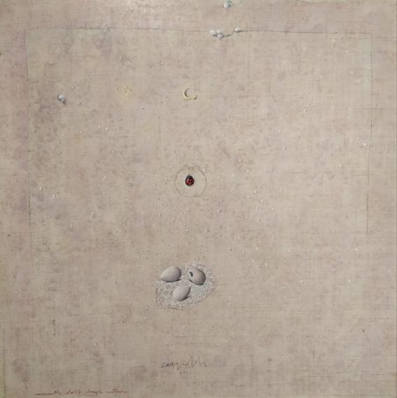 """""""Caccinella dalle lunghe antenne"""" 1991, olio su tavola, cm. 70x70"""
