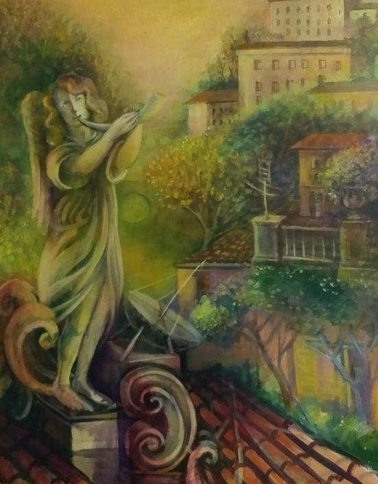 """""""Risveglio del paesaggio"""" 1994, olio su tela, cm. 90x70"""