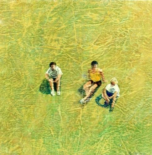 """""""Tre sul prato"""" 2000, vinilico su tela, cm. 40x40"""