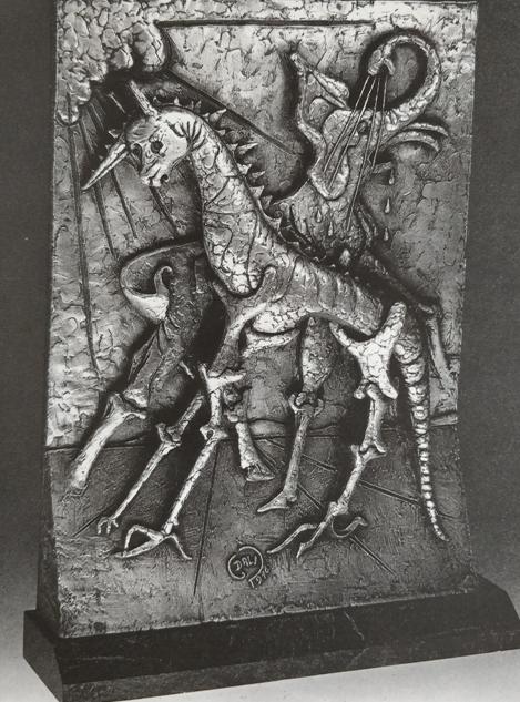 """""""La nascita degli animali"""" (1975),  multiplo in metallo placcato argento,cm. 54x42x6"""