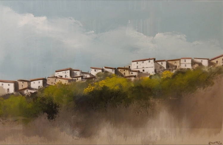 """Paesaggio calabrese"" (1970), tempera su carta, cm. 40x60"