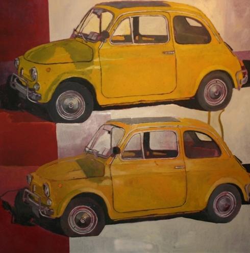 """""""Cinquecento"""" (1995), olio su tela, cm. 100x100"""