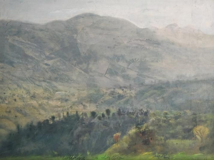 """""""Colline a Lucca"""" (2000), olio su cartone, cm. 30x40"""