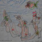 """""""Senza titolo"""" (1970), pastelli colorati, cm. 30x40"""
