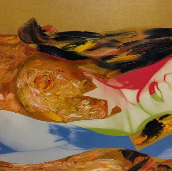 """""""Paesaggio nudo"""" 2007, olio su tela fotografica, cm. 45x45"""