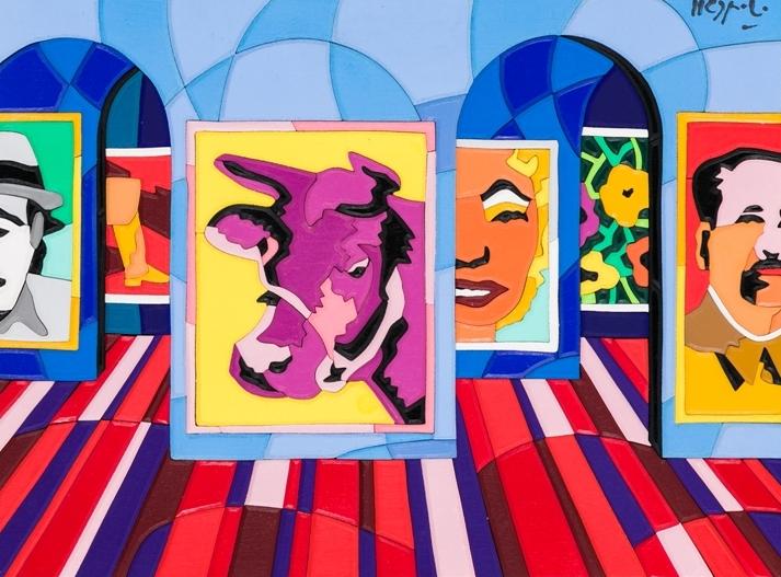 """""""Pop time"""" (1990), acrilici su intarsi di legno, cm. 30x40"""