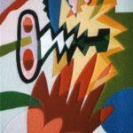 """Flash"" 1985, tarsia in panno, cm. 54x40"