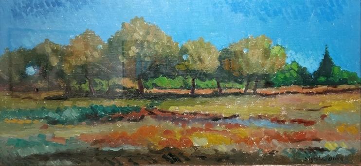 """""""Paesaggio"""" (1980), olio su tavola, cm. 26x55"""
