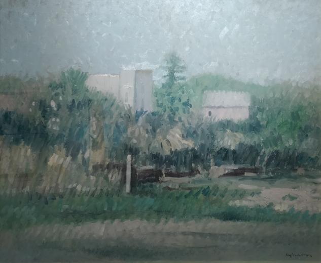 """""""Paesaggio di campagna"""" (1980), olio su tela, cm. 50x60"""