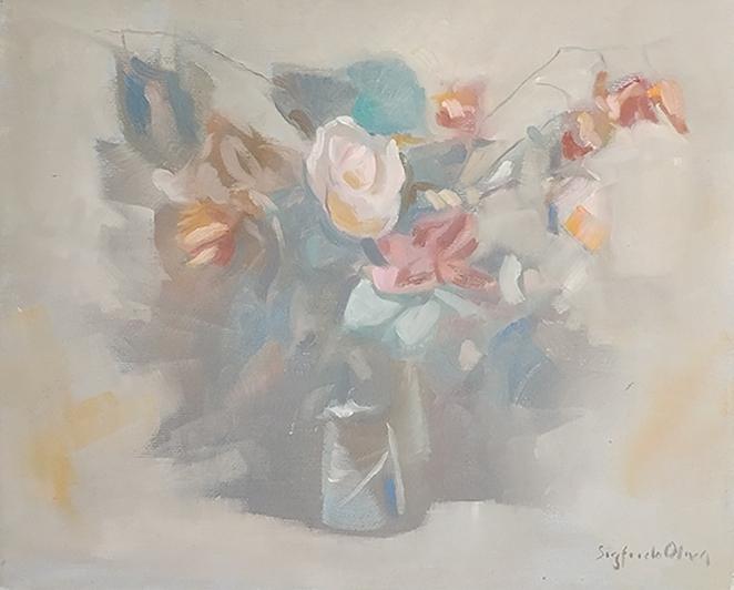 """""""Vaso di fiori"""" (1990), olio su tela, cm. 24x30"""