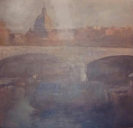 """Ponte e cupola"" (2000), olio su tela, cm. 60x60"