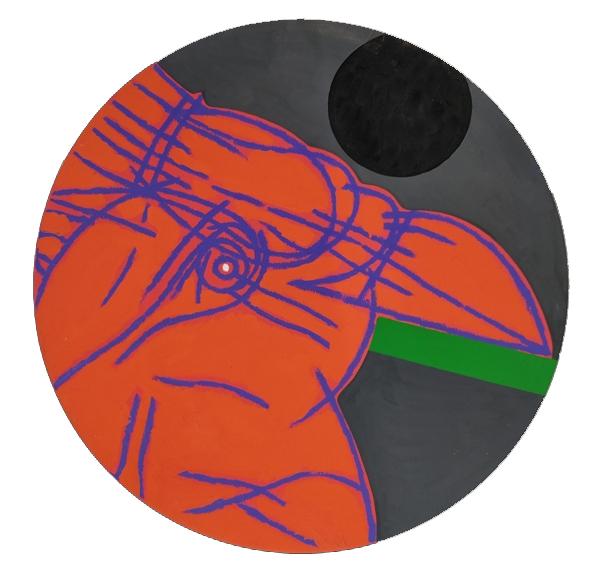 """""""Lo scudo della pittura"""" 1999, olio su tela, diam. cm. 50"""