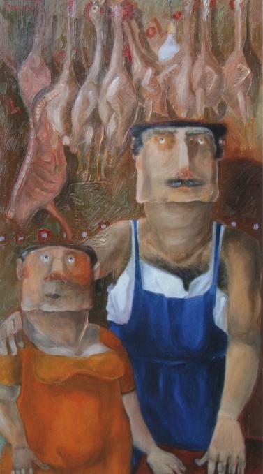 """""""Il pollaiolo """" (2010), olio su tela, cm. 35x20"""