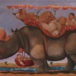 """""""Passeggiate africane"""" (2005), olio su tela, cm. 40x60"""