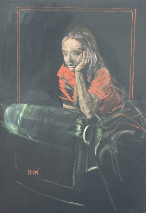 """""""Ragazza"""" 1969, tempera su carta nera, cm. 100x70"""