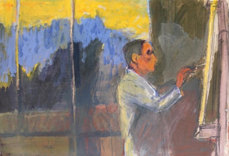 """""""Pittore al cavalletto"""" (1980), tempera su carta intelata, cm.50x70"""