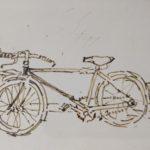 """Bicicletta"" (1970), china su carta, cm. 10x14,5"