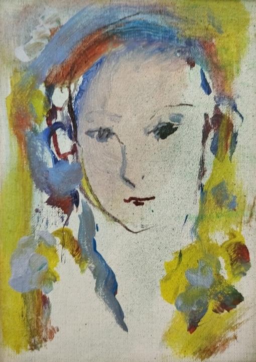 """""""Volto"""" (1970), olio su tela, cm. 18x13"""