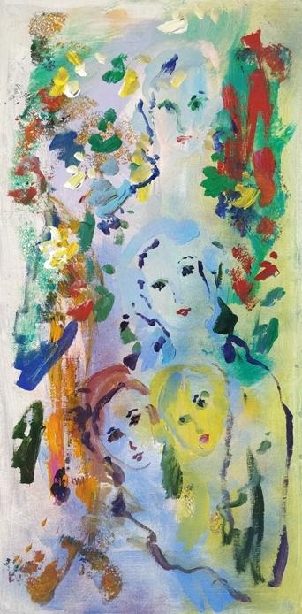 """""""Volti"""" (1970), olio su tela, cm. 90x45"""