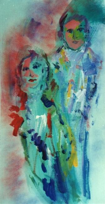 """""""Figure"""" (1970), olio su tela, cm. 90x45"""