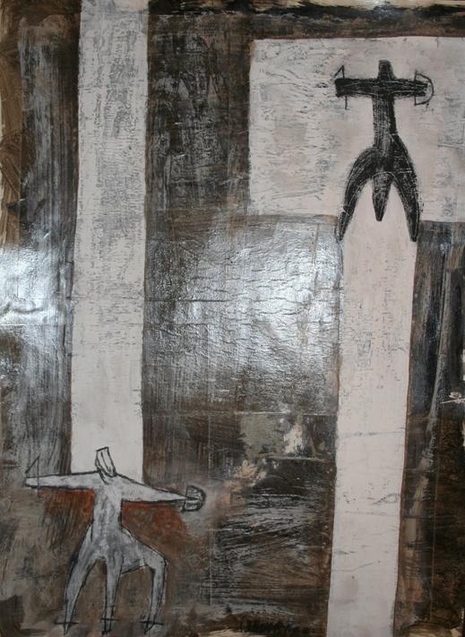 """""""Il lungo cammino"""" 2000, tecnica mista su carta, cm. 67x50"""