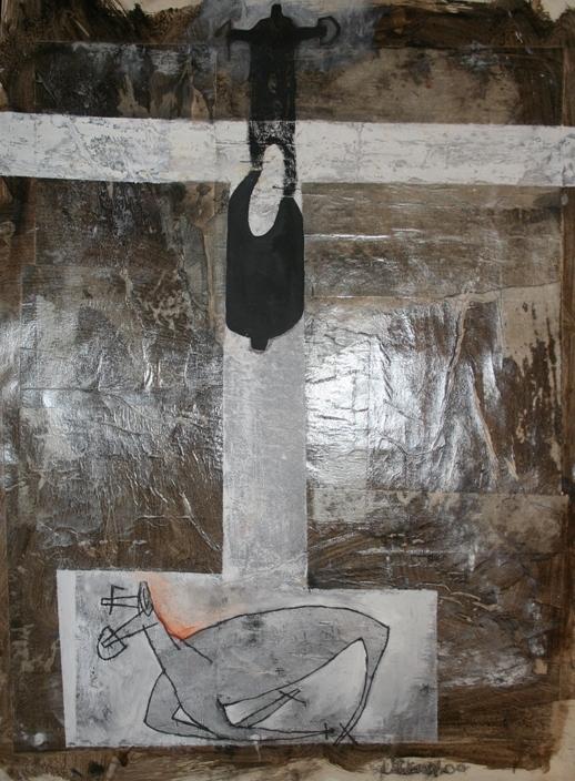 """""""Il lungo cammino"""" 2000, tecnica mista su carta, cm. 68x50"""