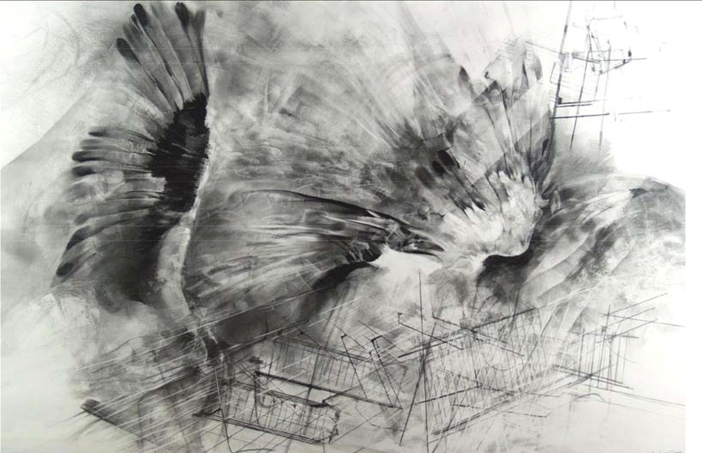 """Sparvieri su Manhattan"" 1992, tecnica mista su carta, cm. 68x96"