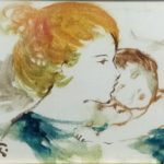 """Maternità""  (1980), olio su tela, cm. 12x18"