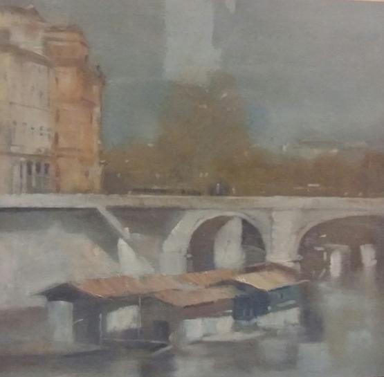 """Barconi a Ponte Cavour"" (2000), olio su tela, cm. 60x60"