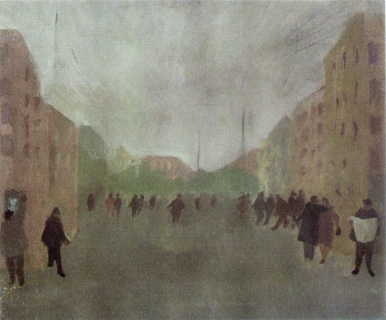 """""""Periferia"""" (1950), olio su tavola, cm. 64x80"""