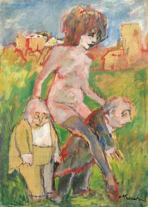 """""""A cavalluccio"""" 1965, olio su compensato, cm 55x39"""