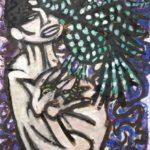 """""""Donna con gallo"""" 1963, tecnica mista su carta intelata, cm 52x36"""